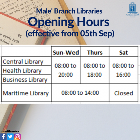 Male' Branch Libraries Opening Hours (effective from 05th Sep) (1)